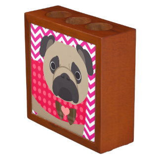 Pug With Dots on Hot Pink and White Chevron Stripe Desk Organizer
