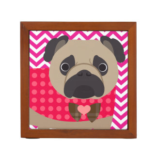 Pug With Dots on Hot Pink and White Chevron Stripe Pencil/Pen Holder