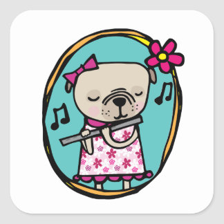 Pug with Flute Square Sticker