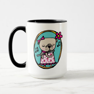 Pug with Flute, Without Music Life Would B flat Mug
