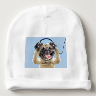 Pug with headphones,pug ,pet baby beanie