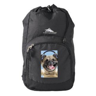 Pug with headphones,pug ,pet backpack