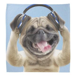 Pug with headphones,pug ,pet bandana