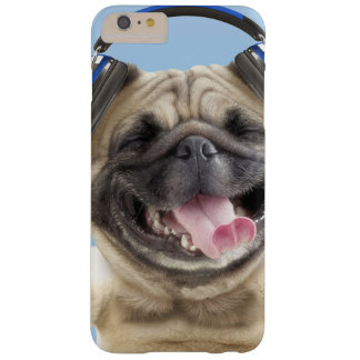Pug with headphones,pug ,pet barely there iPhone 6 plus case