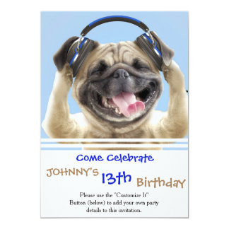 Pug with headphones,pug ,pet card