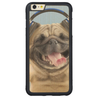 Pug with headphones,pug ,pet carved maple iPhone 6 plus bumper case
