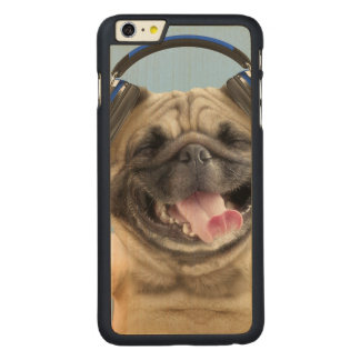 Pug with headphones,pug ,pet carved maple iPhone 6 plus case