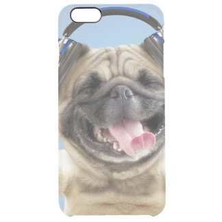 Pug with headphones,pug ,pet clear iPhone 6 plus case