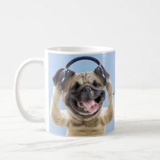 Pug with headphones,pug ,pet coffee mug