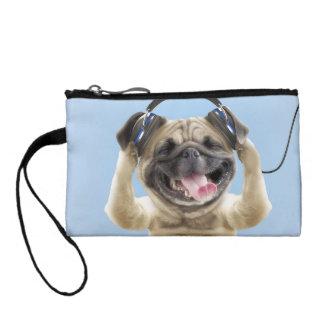 Pug with headphones,pug ,pet coin purse