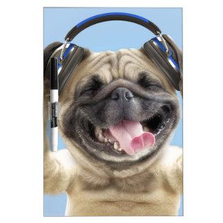 Pug with headphones,pug ,pet dry erase board