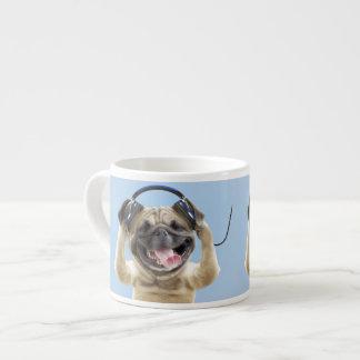 Pug with headphones,pug ,pet espresso cup