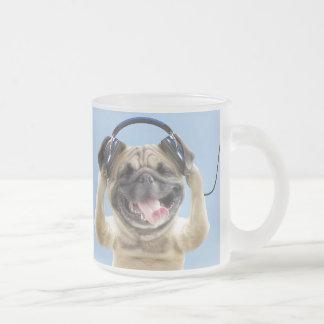 Pug with headphones,pug ,pet frosted glass coffee mug