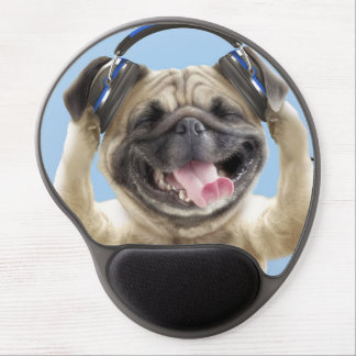 Pug with headphones,pug ,pet gel mouse pad