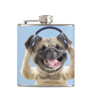 Pug with headphones,pug ,pet hip flask