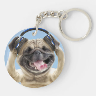 Pug with headphones,pug ,pet keychain