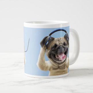 Pug with headphones,pug ,pet large coffee mug