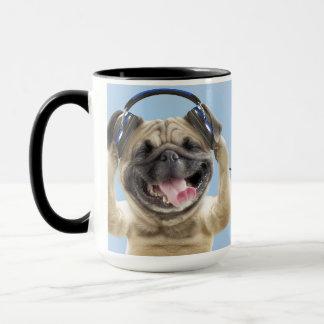 Pug with headphones,pug ,pet mug