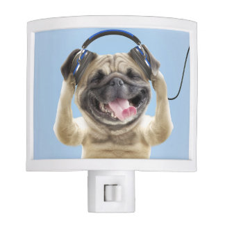 Pug with headphones,pug ,pet nite lites