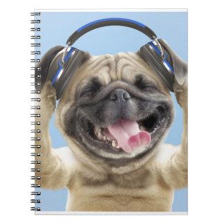 Pug with headphones,pug ,pet notebook