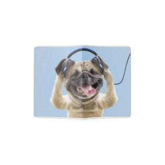 Pug with headphones,pug ,pet passport holder