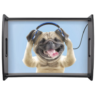 Pug with headphones,pug ,pet serving tray