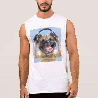 Pug with headphones,pug ,pet sleeveless shirt