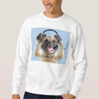 Pug with headphones,pug ,pet sweatshirt