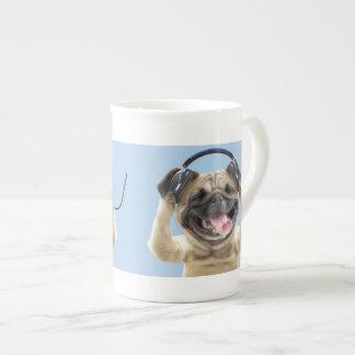 Pug with headphones,pug ,pet tea cup