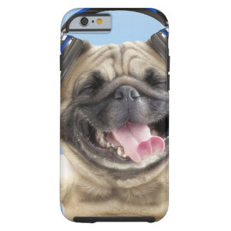 Pug with headphones,pug ,pet tough iPhone 6 case