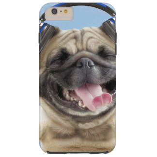 Pug with headphones,pug ,pet tough iPhone 6 plus case