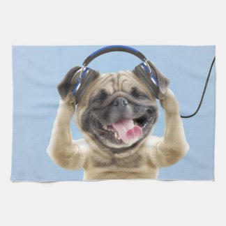 Pug with headphones,pug ,pet towels