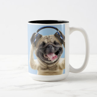Pug with headphones,pug ,pet Two-Tone coffee mug