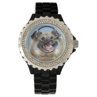Pug with headphones,pug ,pet watch