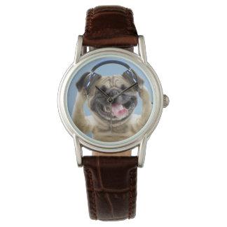 Pug with headphones,pug ,pet watches