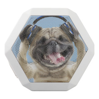 Pug with headphones,pug ,pet white bluetooth speaker