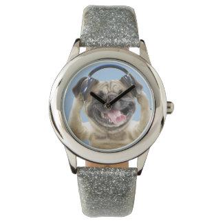 Pug with headphones,pug ,pet wrist watch