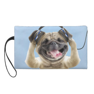 Pug with headphones,pug ,pet wristlet