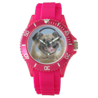 Pug with headphones,pug ,pet wristwatch