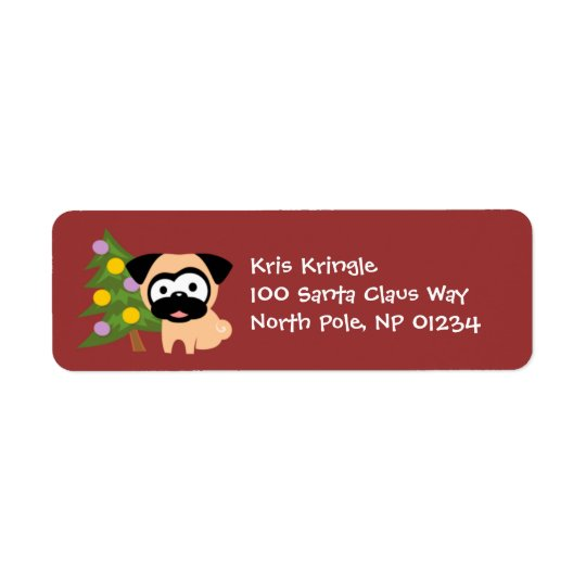 Pug with Tree Holiday Return Address Labels