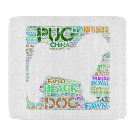 "Pug ""Word Cloud"" Glass Cutting Board"