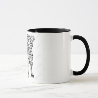 Pug words in black silhouette mug