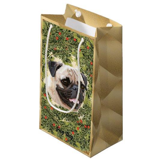Pug Wreath Small Gift Bag