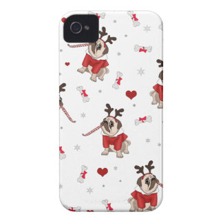 Pug Xmas Pattern iPhone 4 Case-Mate Case