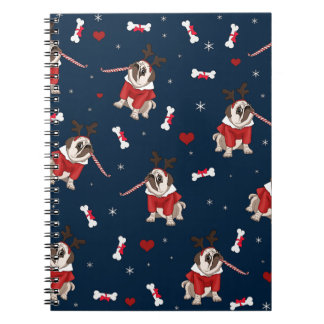Pug Xmas Pattern Notebook
