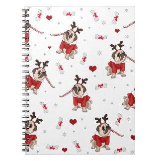 Pug Xmas Pattern Notebooks