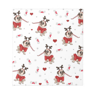 Pug Xmas Pattern Notepad