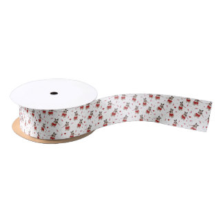 Pug Xmas Pattern Satin Ribbon