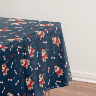 Pug Xmas Pattern Tablecloth