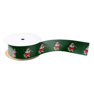 Pug Xmas Satin Ribbon